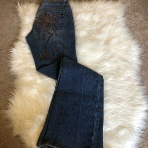Cache | Vintage Boot Cut Embroidered Jeans